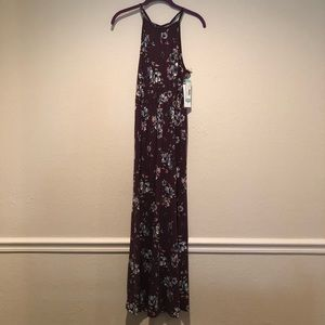 French Grey Floral Maxi Dress Size Small